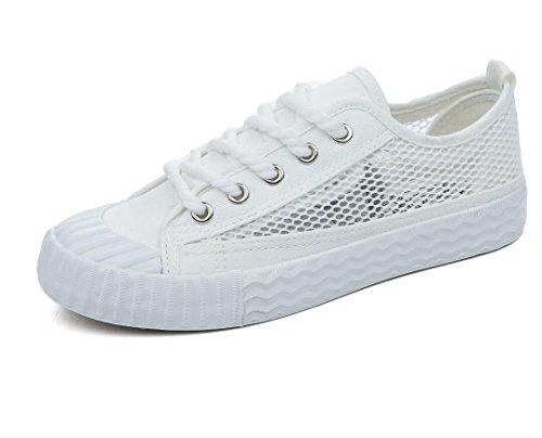 XIE Lady Shoes Permeabilidad Simple Color Sólido Ocio Zapatos de Lona Movimiento Red Estudiantes Escuela de Verano Tres Colores, 35 WHITE-39