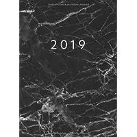 2019: Mini Kalender ca. DIN A6 | 1 Woche auf 2 Seiten | 52 Wochen Jan - Dez Planer | Marmor Schwarz