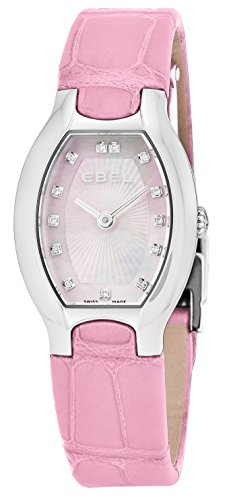 Ebel Beluga Tonneau Womens Pink Mother-of-Pearl Face Diamond Pink Leather Strap Swiss Quartz Watch 1216246