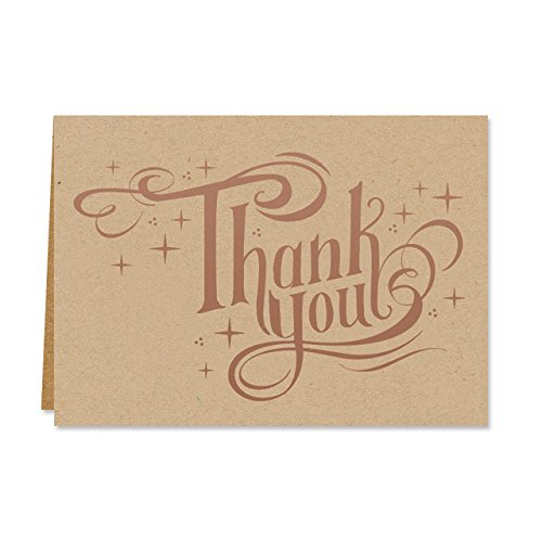 Sparkling Foil Thank You Note Pack - Set of 36 cards, blank inside with coordinating - Canopy Blank