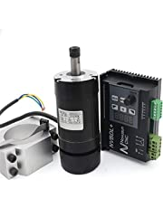RATTMMOTOR 400W CNC Air Cooled Blushless Spindle Motor ER8 12000RMP 0.45N.m+ 600W Brushless Spindle Motor Driver Without Hall+55mm Spindle Motor Clamp Mount for CNC Router Engraving Milling Machine