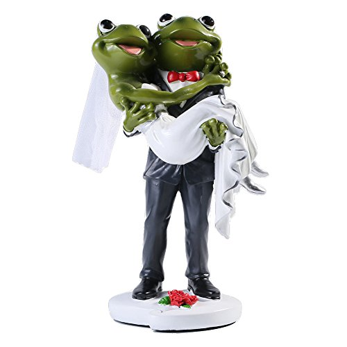 Giftgarden Frog Couple Wedding Figurine Groom Holding Bride Wedding Day Cake Toppers Funny Decorations Figures Statue Gifts for Couples