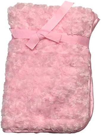 Manta de bebé personalizada bordada suave mullida para recién nacido, regalo de príncipe princesa corona recién nacido, abrigo y manta personalizada, suave regalo esponjoso (rosa liso)