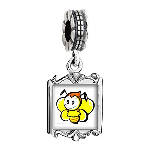 Bee Charms Baby (Silver Plated Lovely Honeybee Photo Family Mom & Baby Girl & Dad Dangle Bead Charm Bracelet)