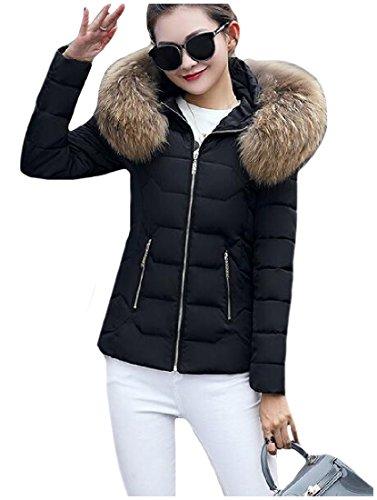 Fur Parka With Down Warm Jacket Down AngelSpace Hood Womens Black With Faux 8nAvanWgqI