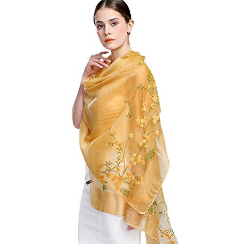 Silk And Cashmere - Confidanilin Women's 50% Silk + 50% Cashmere Flower Pattern Long Shawls Stoles Scarfs