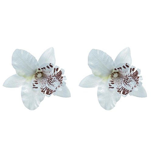 Mwfus 2 Pcs Orchid Flower Hair Clip Bridal Wedding Prom Party Barrette Hair Pin Accessory