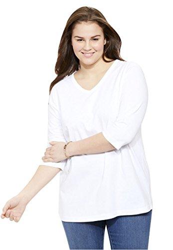 Woman Within Plus Size V-Neck Three-Quarter Sleeve Perfect Tee - White, ()