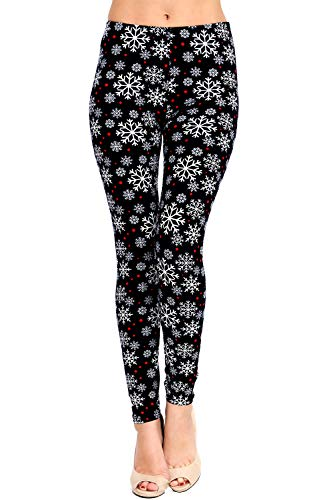 VIV Collection Regular Size Printed Brushed Ultra Soft Christmas Leggings (Snowflake ()