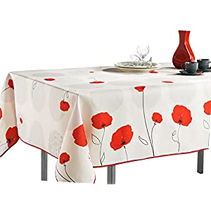 "60 x 80-Inch Rectangular Tablecloth Ivory White Red Poppy Flowers, Stain Resistant, Washable, Liquid Spills bead up (Other Size Available: 63"" Round, 60 x 95"", 60 x 120"")."