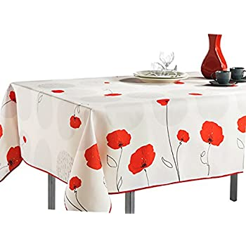 Nice 60 X 80 Inch Rectangular Tablecloth Ivory White Red Poppy Flowers, Stain  Resistant,