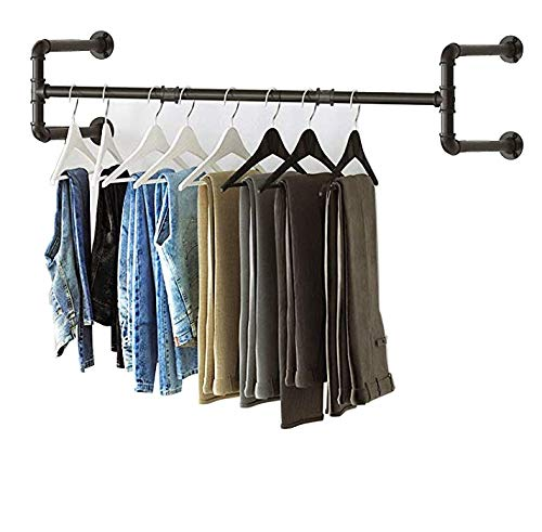 Industrial Pipe Clothes Rack-43 Inch, Heavy Duty Detachable Wall Mounted Black Iron Garment Bar, Multi-Purpose Hanging Rod for Closet Storage, Black