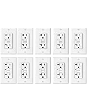 [10 Pack] BESTTEN UL-Listed 20 Amp Self-Test GFCI Receptacle, USG5 Slim Series, Non-Tamper-Resistant, Wallplate Included, White
