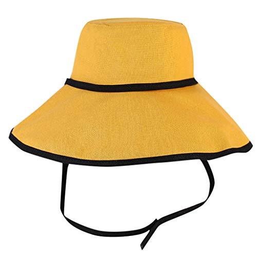 Loosebee Loosebee Women Comfortable Protection Ladies Hat Cotton Foldable Sun Summer Cap Yellow ()