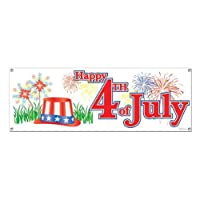 Beistle 50182 Happy 4th of July Sign Banner, 5-Feet by 21-Inch
