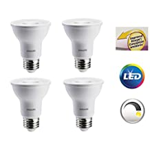 4-Pack x Philips LED Bulb (50W/6W), Improved Lens Design, PAR20 Shape, E26 Medium Base, 520 Lumens Output, Dimmable, Indoor 35 Degree Flood, (Daylight 5000K Color Temperature)