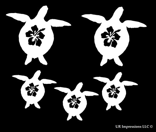 Wall 351 - Fam 5 Hibiscus Flower Sea Turtle Family of 5 Decal Vinyl Sticker Graphics for Cars Trucks SUV Vans Walls Windows Laptop|White|1 @ 3.8 X 3.5-1 @ 3.5 X 3.3-3 @ 2.6 X 2.4 inch|URI493
