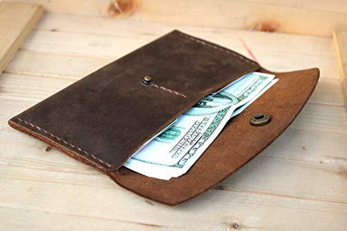 (Handmade High Quality Retro Leather Multi-function EnvelopeMulti-function Mobile Phone Card Holder Wallet)