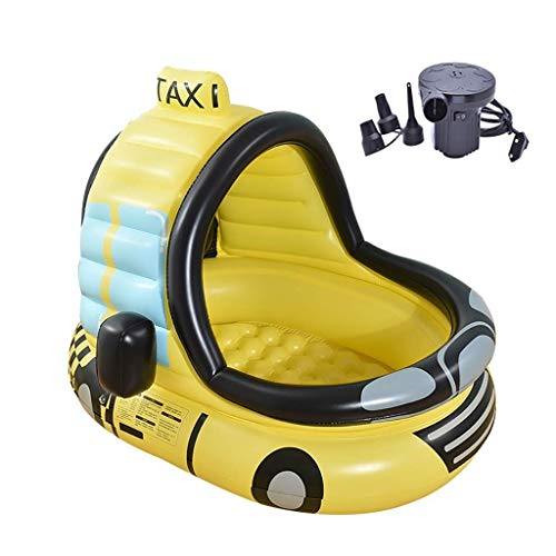 ZH Inflatable Pool Car Inflatable Swimming Pool, PVC Paddling Pool - Bubble Bottom - with Electric Pump - for Kids Under 10 Years Old, 120x100x130cm, Yellow