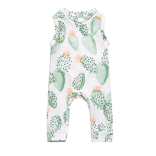 Franterd Little Girls Boys Romper Double Season Cactus Overall Playsuit Jumpsuits, Spring Fall Long Sleeve, Summer Sleeveless]()