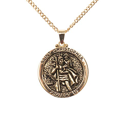 Dicksons Saint Christopher Protect Us Engraved Pendant 24 Inch Round Gold Oxidized Pewter Neckace in Jewelry Box with Prayer Card ()