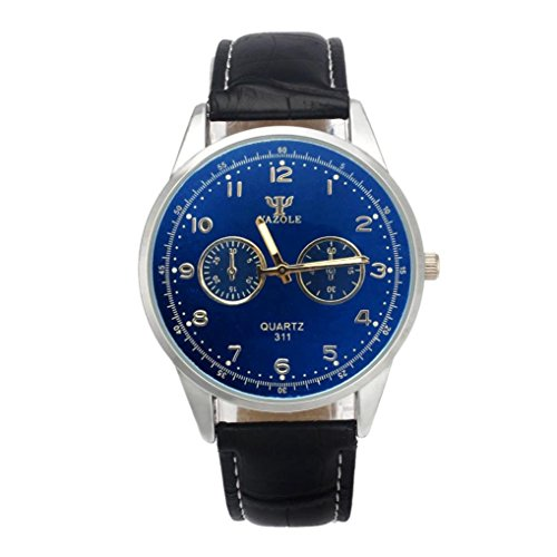 START Noctilucent Mens Waterproof Blue Ray Glass Quartz Leather Watches-Black