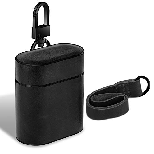 Mountaineers Black Leather - 	XGUO AirPods Case, Genuine Leather Shockproof Skin Cover Case Portable & Protective Cover for Apple AirPods 1&2 Charging Case. (Black)