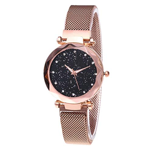 Dial Shining Round (Fashion Shining Round Dial Luxury Woman Girls Wrist Watch Quartz Movement Water Resistant Casual Watch Steel Wristband - Golden)