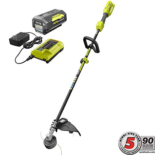 - RYOBI 40-Volt Lithium-Ion Cordless Attachment Capable String Trimmer, 4.0 Ah Battery and Charger Included