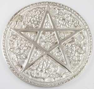 Leafy Five Point Pentacle Meditation Altar Tile in Silver 6