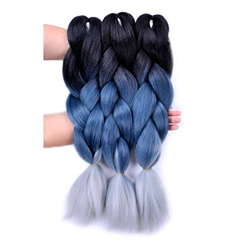 Jumbo Braiding Hair 3pcs (Black/ Grey Blue/Silver Grey) Jumbo Braid Hair Extension Ombre Colors For Crochet Braids Hair