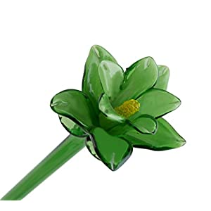 Green Glass Tiger Lily Flower, One-of-a-kind. Life Size 20″ long. FREE SHIPPING to the lower 48 when you spend over $40.00
