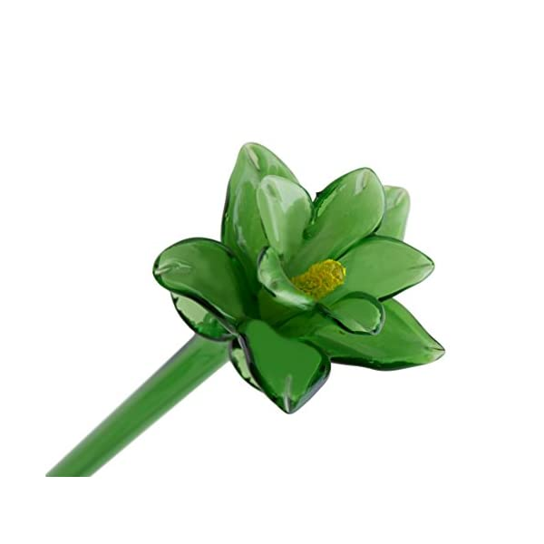 Green Glass Tiger Lily Flower, One-of-a-kind. Life Size 20″ long. FREE SHIPPING to the lower 48 when you spend over $35.00