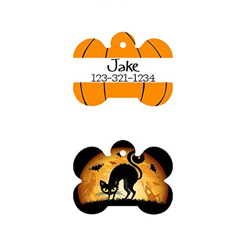 The Famous Halloween Bone Shaped Pet ID Tag, Design 1, Customizable Information Pet Badge for Dogs and Cats (USPS -