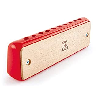 Hape Blues Harmonica | 10 Hole Wooden Musical Instrument Toy for Kids, Red
