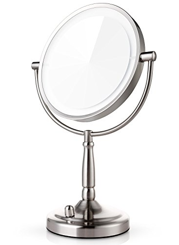 Light Makeup Mirror (Miusco 7X Magnifying Lighted Makeup Mirror, 8 Inch Two Sided White Daylight LED Shadow Free LED Vanity Mirror, Battery and Adapter)