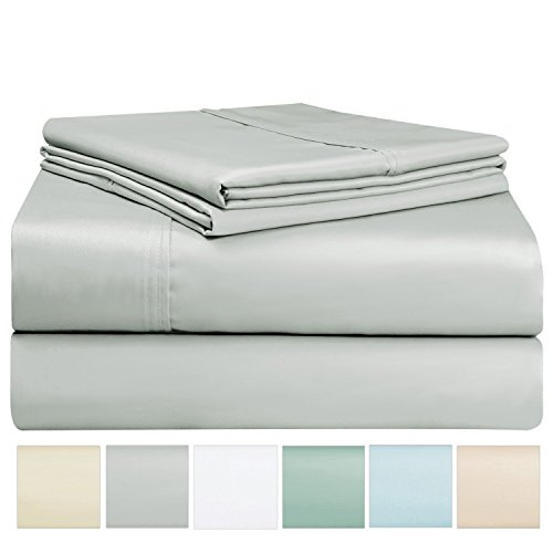 400 Thread Count Light Grey 6 Piece King Sheet Set Includes 2 Bonus Pillow Cases, 100% Long Staple Cotton Soft Sateen Weave Bed Sheets with Deep Pockets, Value Pack 6 pc Cotton Sheets King Gray