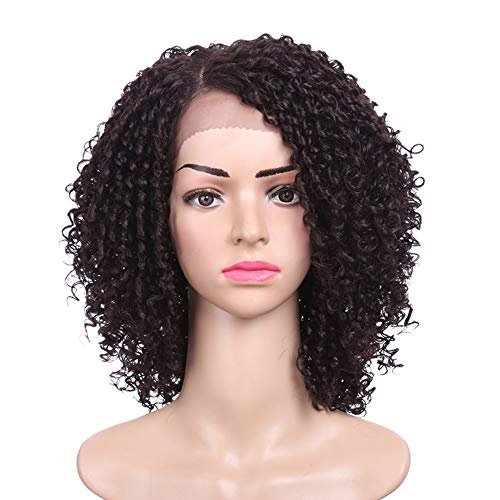- Rosyou 14inch Short Hair Kinkys Curly Lace Wig Synthetic Lace Front Wig For Women African American Wigs Cosplay Lace Front Heat Resistant Wig (14 Inches 130% Density, Light Brown (#4))