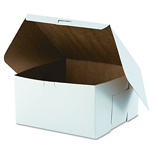 "Southern Champion Tray 0977 Premium Clay Coated Kraft Paperboard White Non-Window Lock Corner Bakery Box, 10"" Length x 10"" Width x 5-1/2"" Height (Case of 100)"