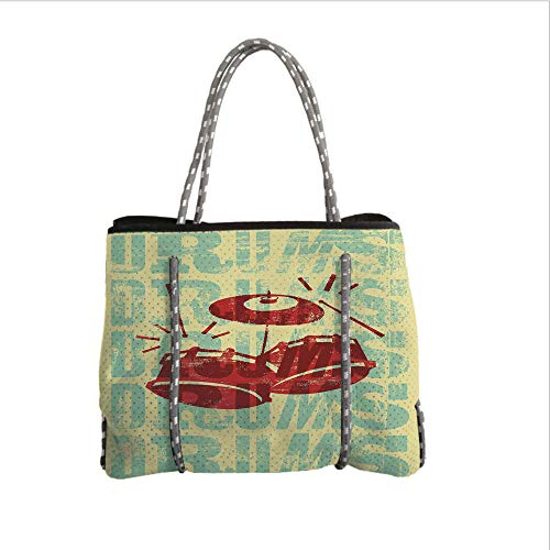 iPrint Neoprene Multipurpose Beach Bag Tote Bags,Vintage Decor,Groovy Drumming Poster Design Percussion Rock Music Instrument Play Vibe Hit,Red Yellow,Women Casual Handbag Tote Bags