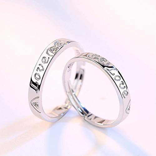 FHX S925 Simple Silver with The Opening Adjustable Ring Color 1 Pair of Rings S925 Silver Color: Silver Rose Gold Material: Artificial Zircon Craft: Polished Weighing About 2.76g Inlaid