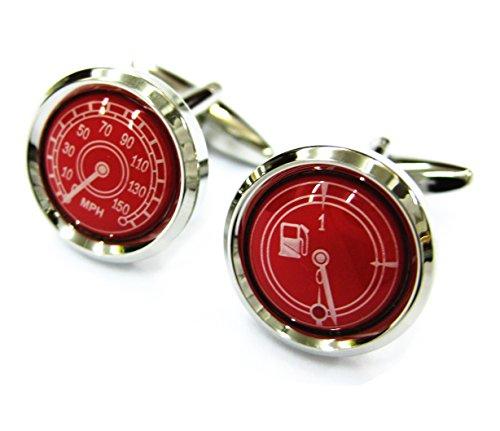 Red Round Car Gauges Cufflinks Automotive Cuff Links Speedometer Gemelos - Red Round Cufflinks