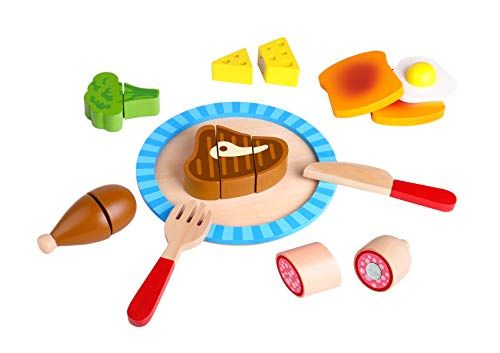 Dinner Play Basket Foods (TOYSTERS Wooden Breakfast Cutting Play Food Set | Wood Toys for Kids | Premium-Quality Pretend Children Kitchen Cooking Playset | Learning Resources for Toddlers | AT751)