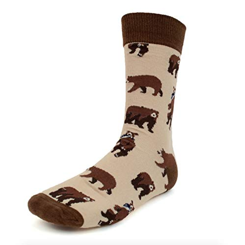 Urban-Peacock Men's Novelty Fun Crew Socks for Dress or Casual - Multiple Patterns Available! (Brown Bear, 2 Pair)