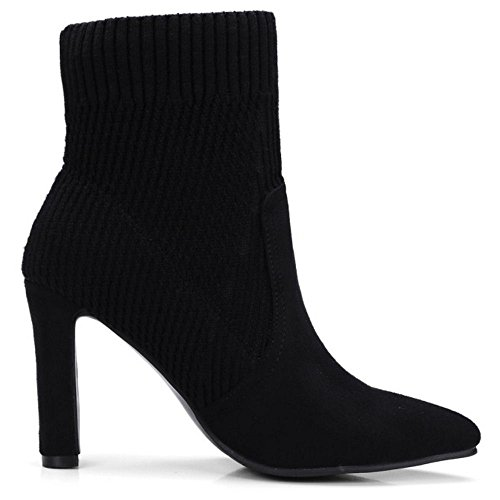 Heel Ankle Boots High COOLCEPT Women Chunky Knit Comfort Black wzWqABYTI