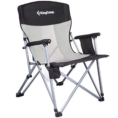 (KingCamp Camping Chair Mesh High Back Ergonom with Cup Holder Armrest Pocket Headrest Breathable Folding Portable Oversize Heavy Duty, Supports 300 lbs)