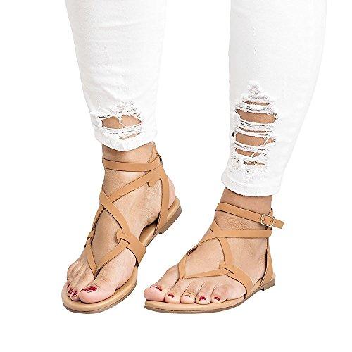 Women Buttoned Sandals,Summer Ladies Sandals Cross Strap Flat Ankle Roman Casual Shoes Beach Sandals (US:5, Brown)