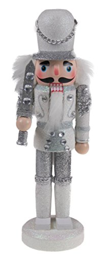 "(Clever Creations Traditional Soldier Nutcracker Collectible Wooden Christmas Nutcracker | Festive Holiday Decor | Sparkling White and Silver Uniform | Holding Silver Sword | 100% Wood | 9.5"" Tall)"