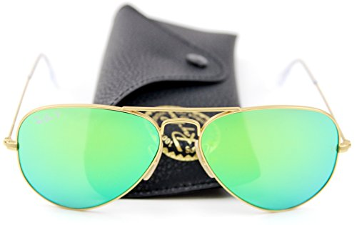 Ray-Ban RB3025 Unisex Aviator Sunglasses Mirrored Polarized (Matte Gold Frame/Green Mirrored Polarized Lens 112/P9, - Mirrored Sunglasses Ban Ray Aviator