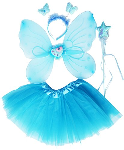Fun Play Butterfly Wings Magic Wand And Headband Fairy Costume Set Aqua One Size (Butterfly Costumes For Women)
